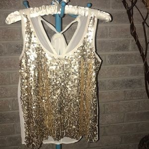 Cream and gold sequin tank top